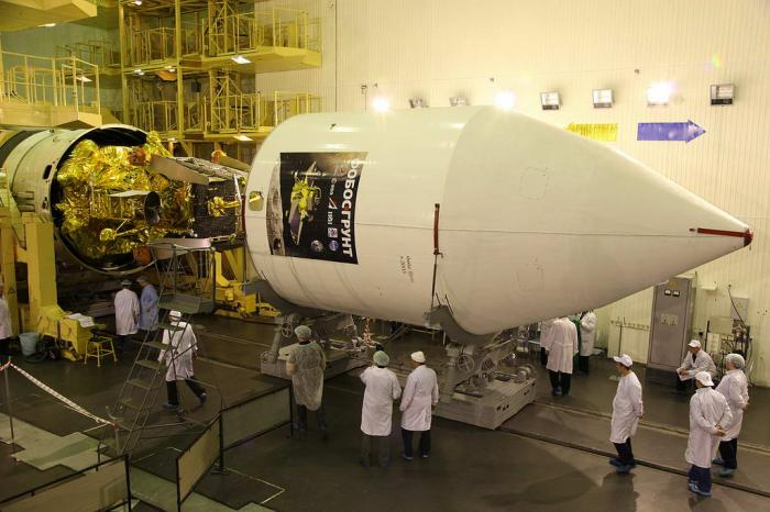 La sonde Phobos-Grunt dans la coiffe de la fusée Zenit-2SB...