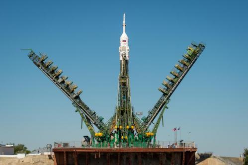 La fusée Soyouz TMA-09M sur son pas de tir (image Roscosmos)