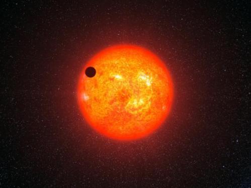 Représentation d'une exoplanète passant devant son soleil (image Google)