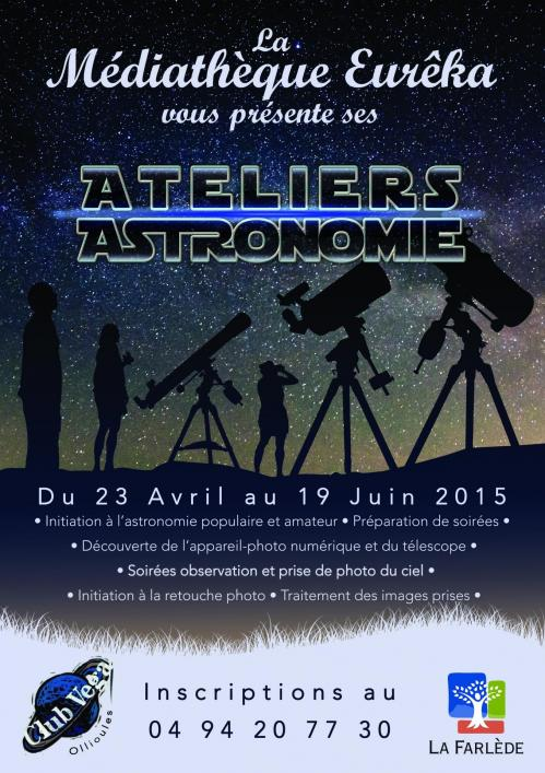 Affiche officielle ateliers d'Astronomie (image médiathèque Eurêka)