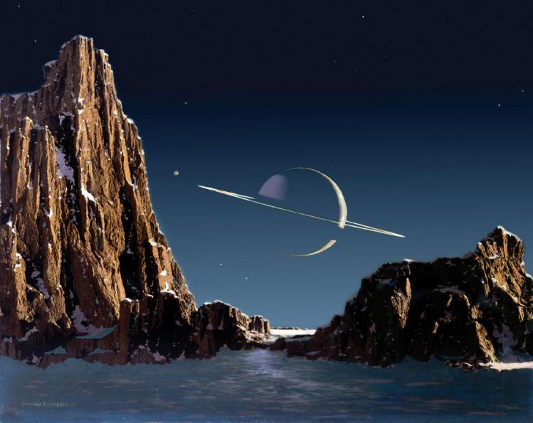 Saturne vue depuis une lune (Chesley bonestell)