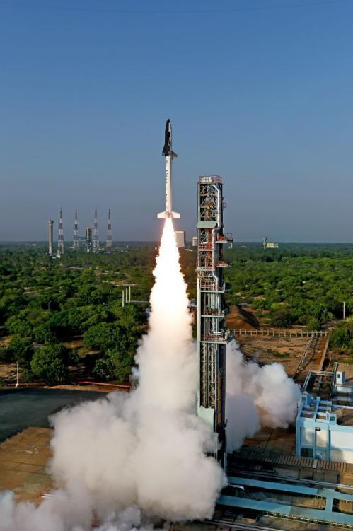 Décollage de la navette spatiale indienne (image ISRO)