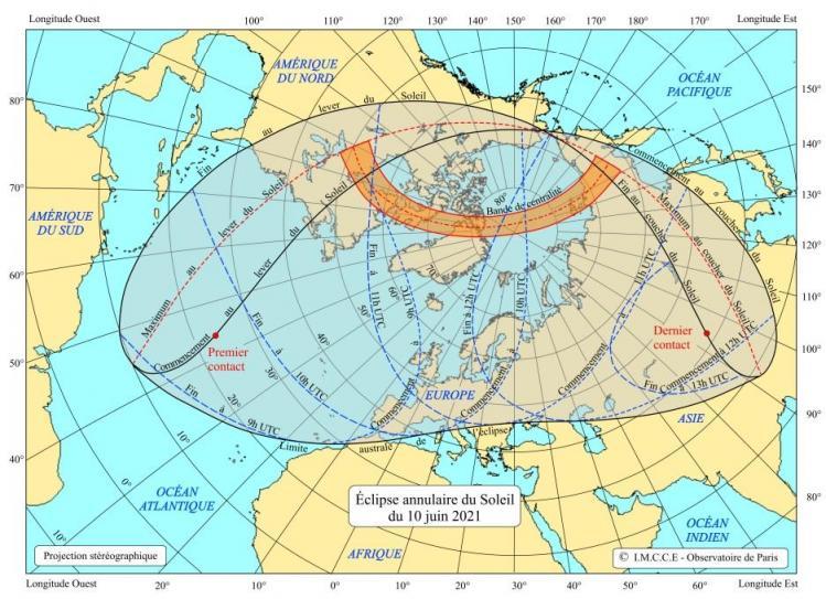 Eclipse solaire du 10 Juin 2021 (image IMCCE)