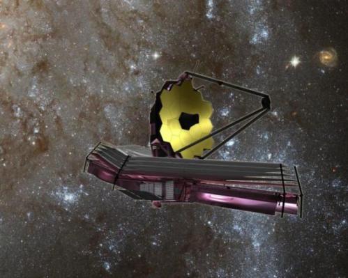 Vue d'artiste du JWST (image NASA)