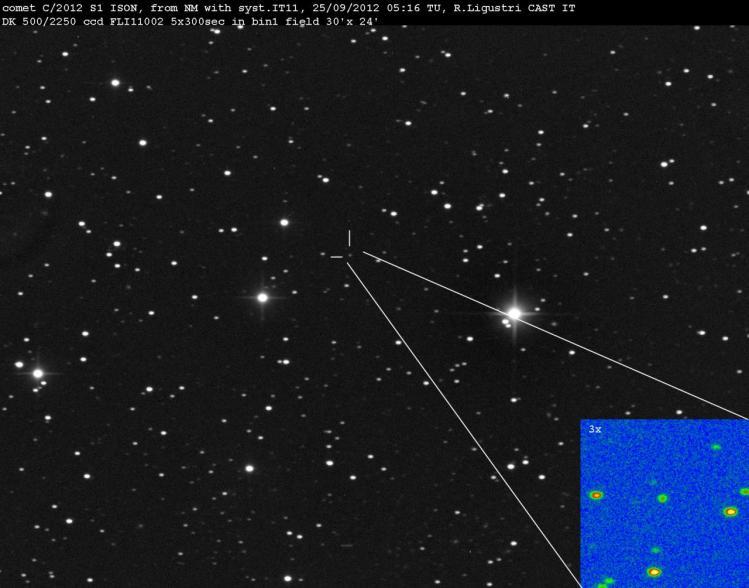 La comète Ison peu après sa découverte en 2012 (image Ligustri Rolando)