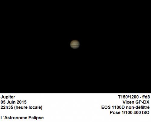Jupiter vue au télescope (image L'Astronome Eclipse)