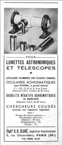 L'une des premières publicités Clavé astronomie - 1955 (image Clavé)