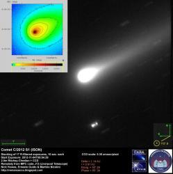 La comète observée avec un télescope de 2 mètres de diamètre (image Ernesto Guido, Nick Howes et Martino Nicolini)