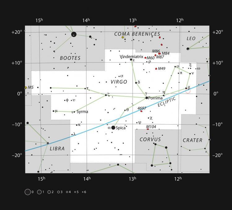 Localisation de l'étoile ROSS 128, dans le cercle rouge (image ESO)