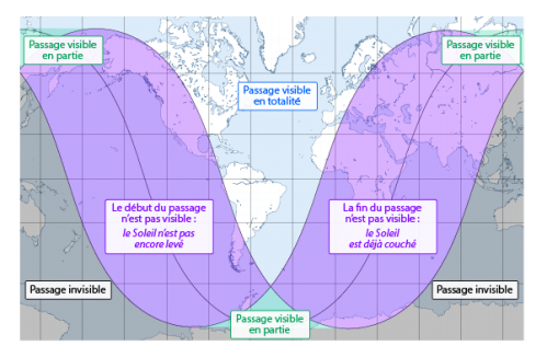 Visibilité du transit de Mercure (image IMCCE)