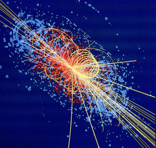 Simulation de la désintégration d'un boson de Higgs au Cern (image National Geographic France)