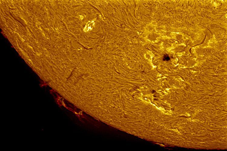 Surface solaire photographiée avec un Coronado SolarMax 90 (image Meade Instruments)