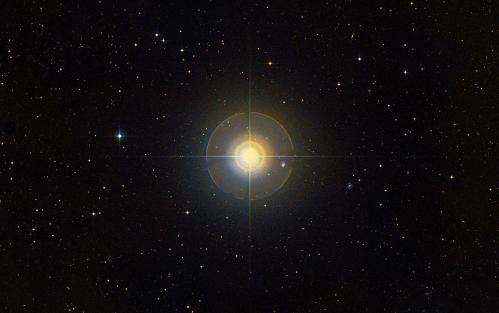 Photo de l'étoile Tau Ceti avec son reflet (image Skypix)