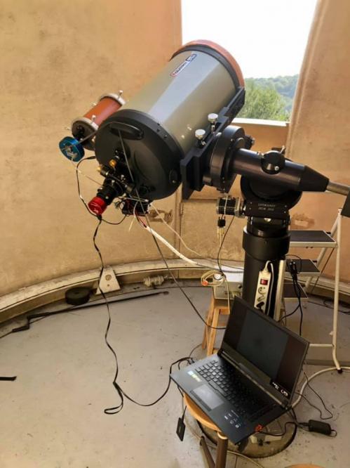 Télescope Celestron 14 utilisé pour filmer en direct (image Denis Huber)
