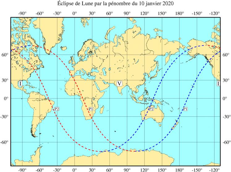 Visibilité de l'éclipse du 10 Janvier 2020 (image IMCCE)