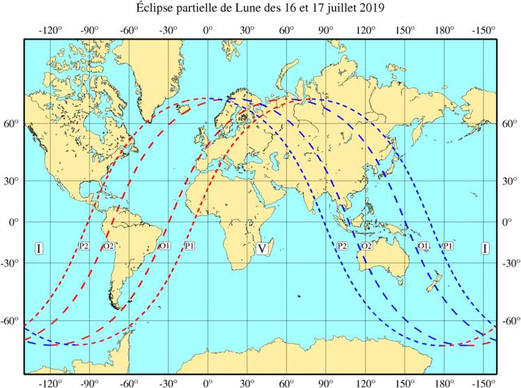 Visibilité de l'éclipse du 16 Juillet 2019 (image IMCCE)