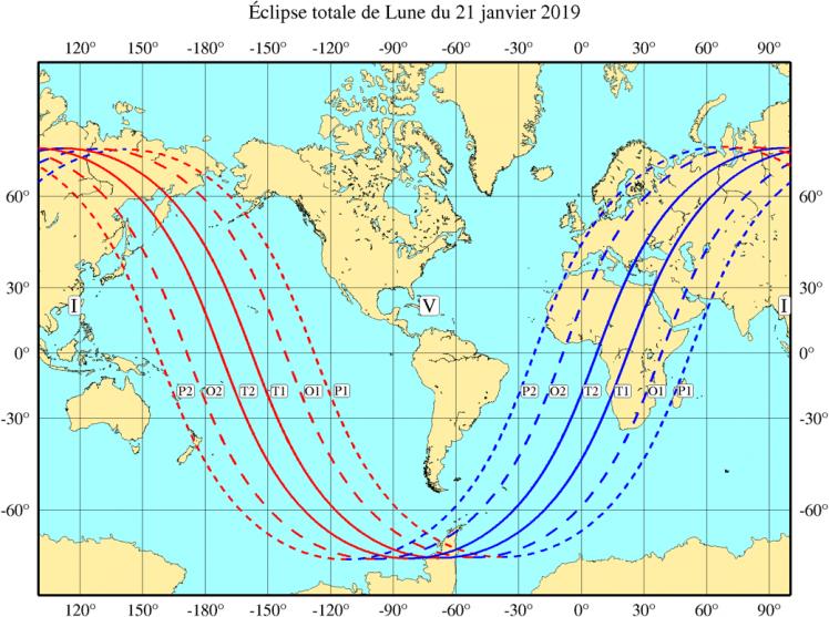 Visibilité de l'éclipse du 21 Janvier 2019 (image IMCCE)