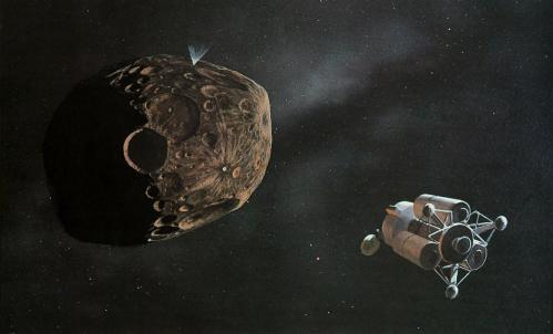Exploration d'un astéroïde (image William Kenneth Hartmann)