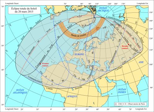 Zone de visibilité de l'éclipse du 20 Mars 2015 (image IMCCE)