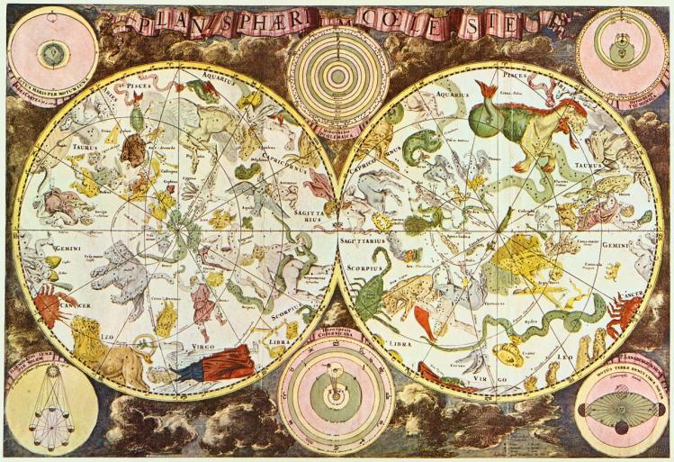 Carte céleste du17ième siècle réalisée par Frederik de Wit (image Anh Tuyet Do)