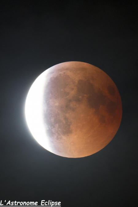 L'éclipse à 23h59 (image L'Astronome Eclipse)