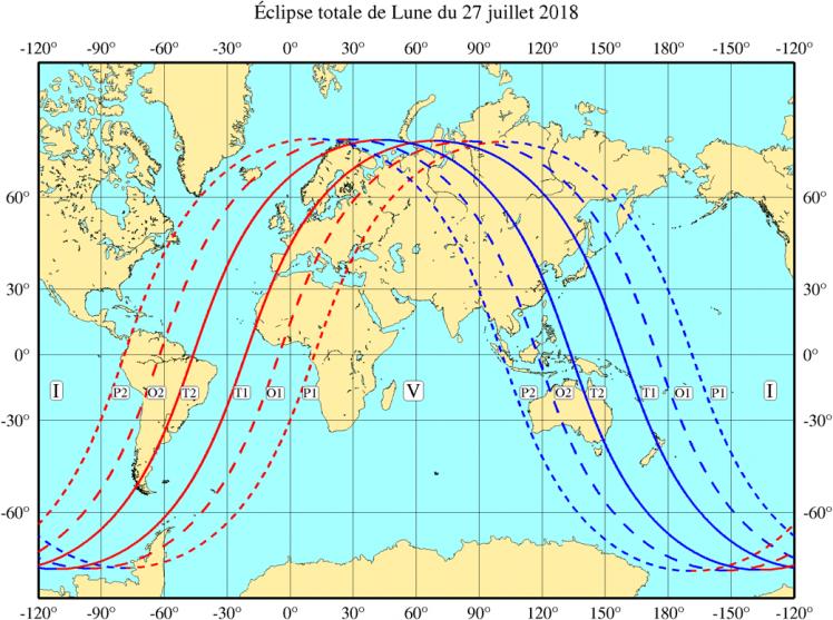 Visibilité de l'éclipse du 27 Juillet (image IMCCE)