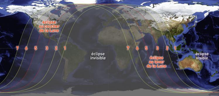 Visibilité de l'éclipse du 28 Janvier 2018 (image Autourduciel)
